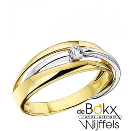 Wit en geel gouden ring met zirkonia - 55758