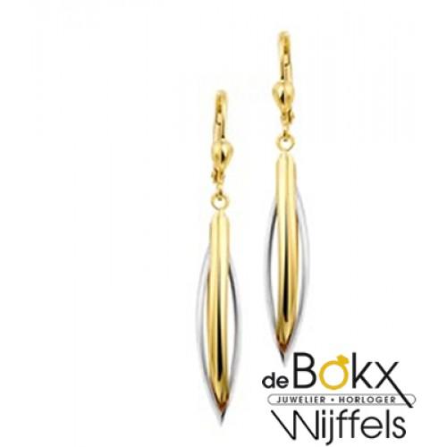 Lange gouden oorhangers in wit en geel goud - 55759