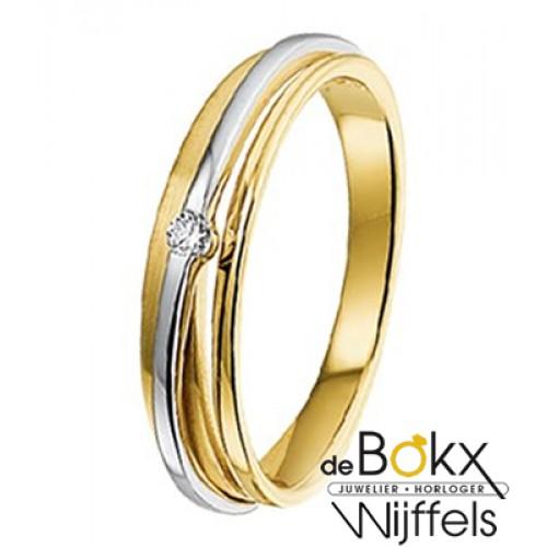 diamanten ring in geel en wit goud - 53076