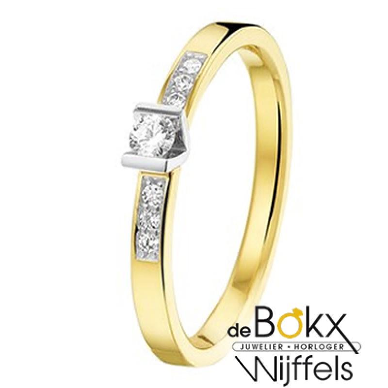 geel en wit gouden diamanten ring maat17 - 56686