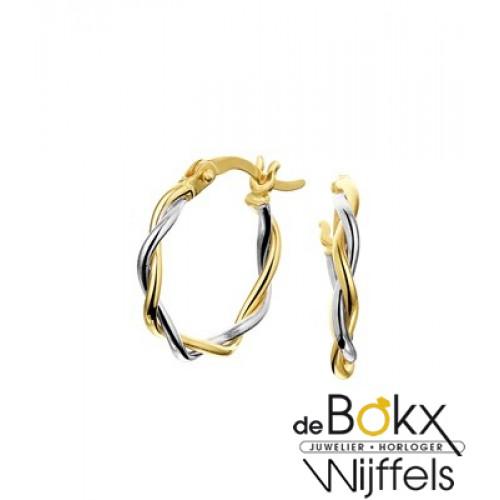 gouden oorbellen met gedraaide buis - 56911