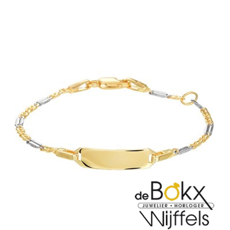 baby armbandje met graveerplaatje bicoulor goud - ...