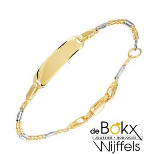 baby armbandje met graveerplaatje bicoulor goud 11 -13cm - 56715