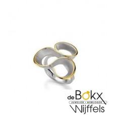 Breuning ring zilver en goud accent - 55017