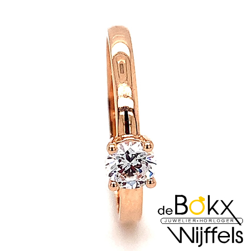 rose goud verlovingsring met zirkonia maat 53 - 56823