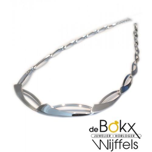Collier van Breuning mat en glimmend in zilver - 55320