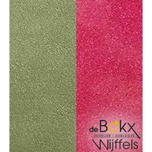 les Georgettes 25mm leer Aloe groen /glitter fuchsia - 55804