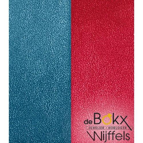 armband leer les Georgettes 25mm petrol blauw / framboos rood - 55811