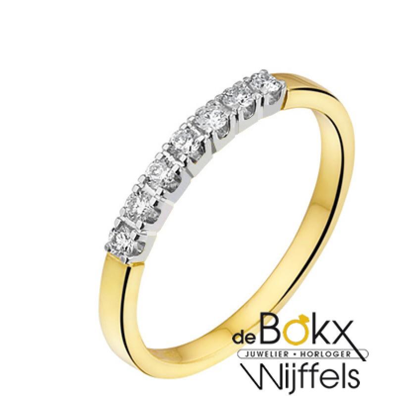 Memoire ring met 7 diamanten in geel goud - 52544