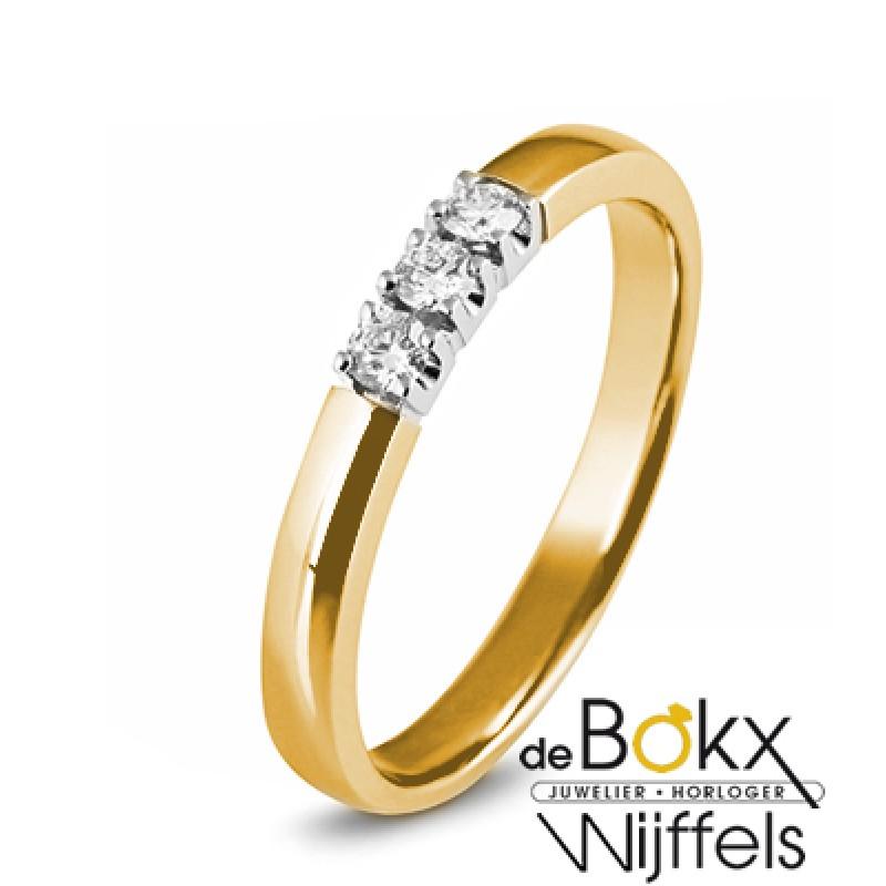 geel gouden memoire ring met 3 diamanten - 52543