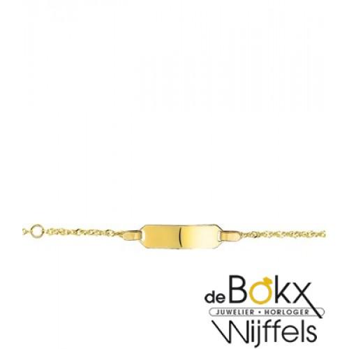baby armbandje met graveerplaatje geel goud 9 karaat - 56711