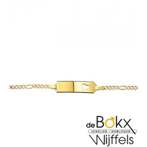 baby armbandje met graveerplaatje geel goud 9 karaat - 56713
