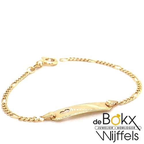 baby armbandje met graveerplaatje en hartje geel goud 9 karaat - 57130