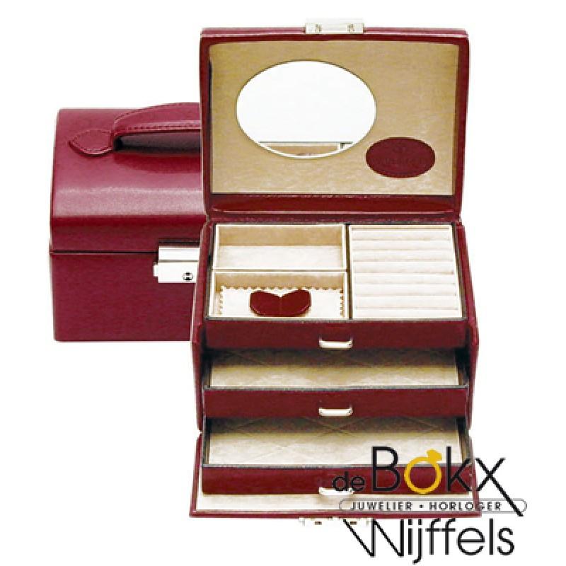 bijoux- en sieradenkoffer van windrose rood 3 etages merino 803676-0 - 56377