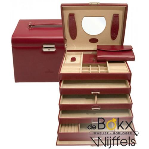 sieraden koffer windrose rood 5 etages merino groot 8036960 - 56407
