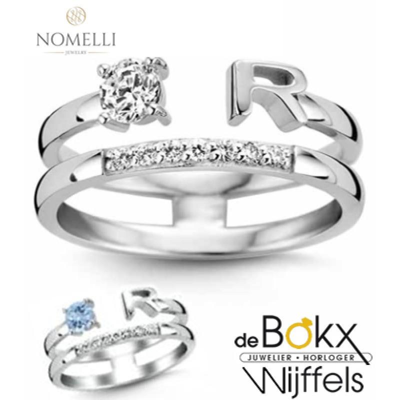 Nomelli letter ring zilver met aquamarijn - 56733