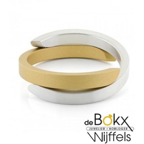 CLIC by suzanne armband mat aluminium en geel met mangneet A1G - 54686