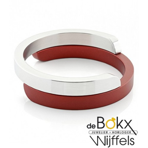 Armband van clic by suzanne in glimmend alluminium en rood A1R - 56104