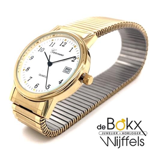 Duidelijk horloge met cijfers en rekband goud kleurig - 52046