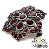 broche zilver met rode granaat - 57890