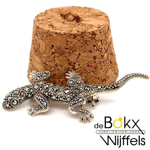 broche salamander in zilver met markasiet - 57893