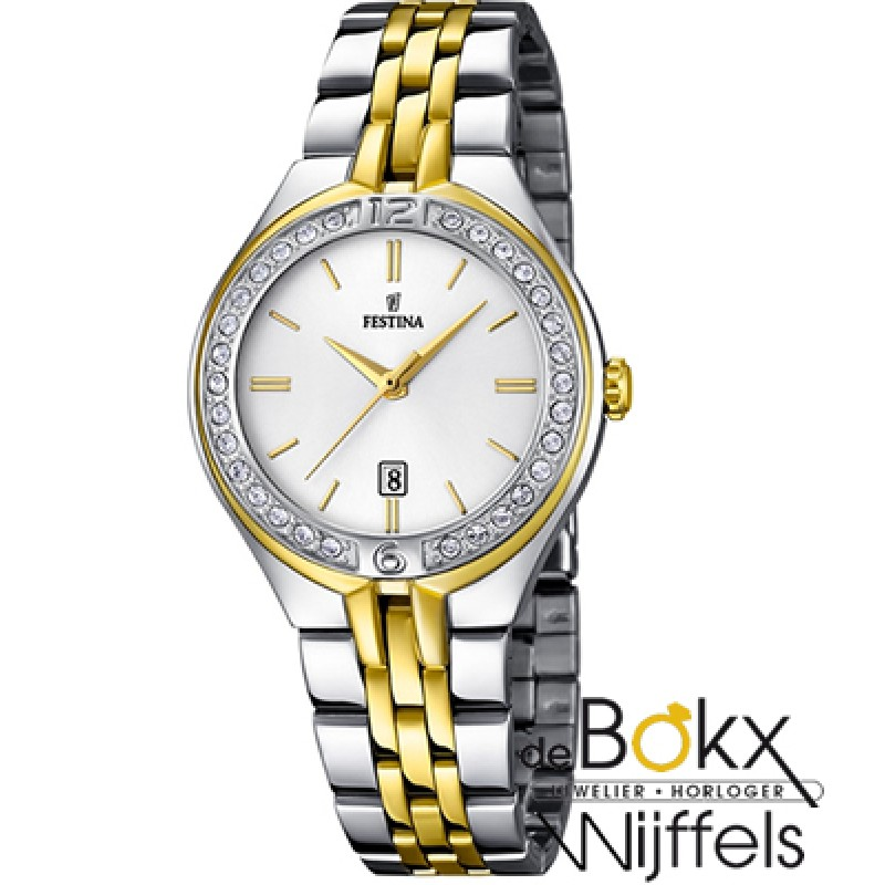 Festina dames bicolor horloge met steentjes F16868...