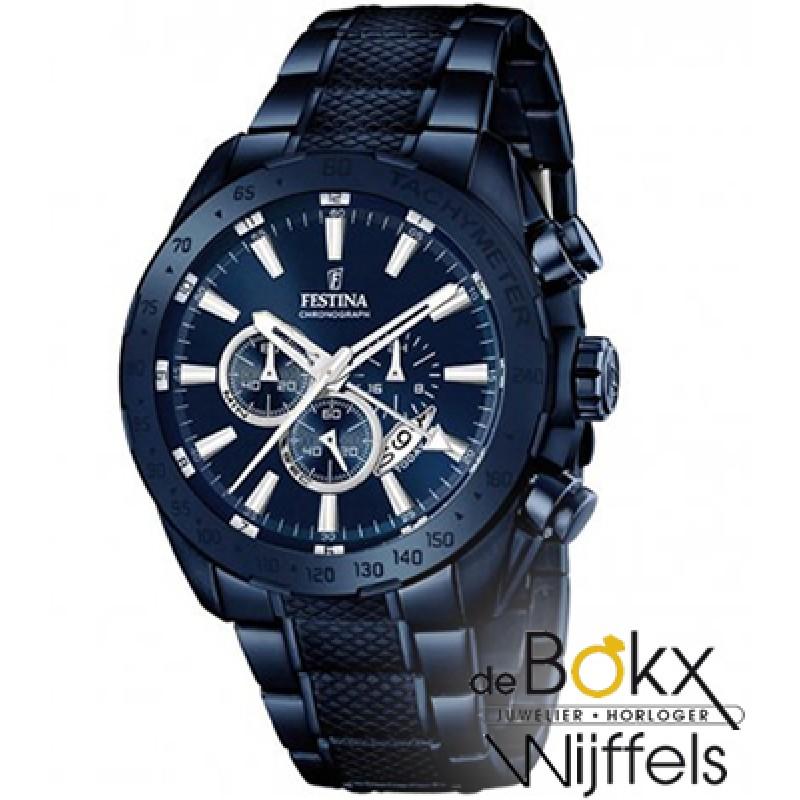 Blauw Festina heren horloge F16887/1 chronograaf - 55838