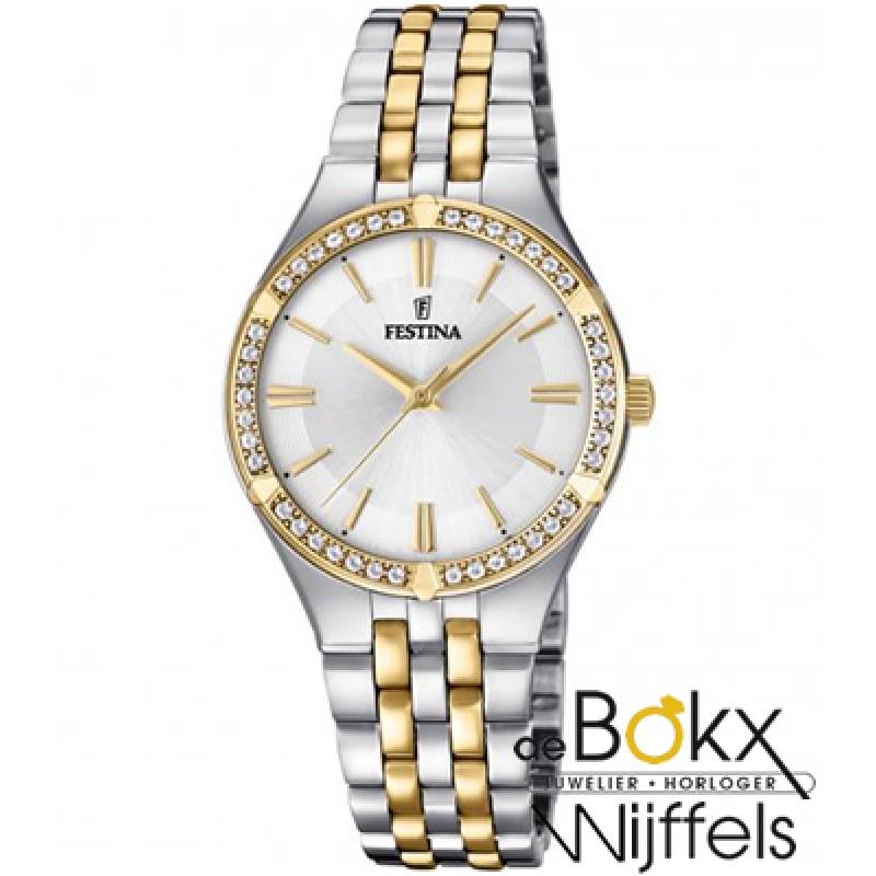 Festina dames horloge bicolor met steentjes F20224...