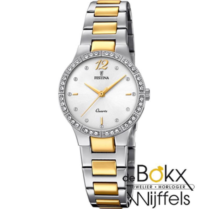 festina dames horloge staal en goud kleurig F20241...