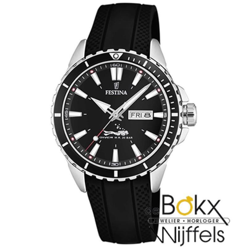 Festina duiker sport horloge met zwarte siliconen ...
