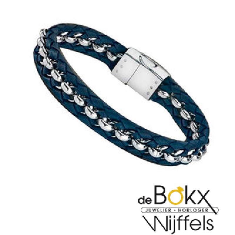 Blauw lederen armband van lotus  met staal - 54441