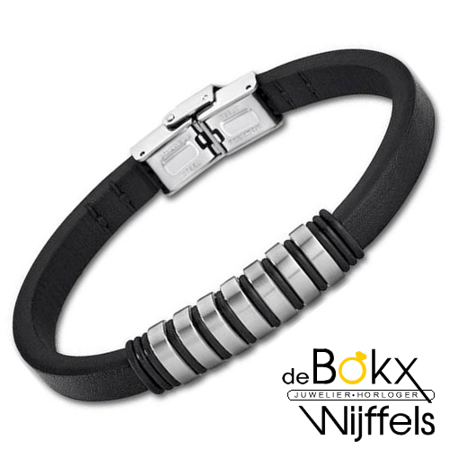 Heren armband zwart leer met staal van Lotus Style - 57371