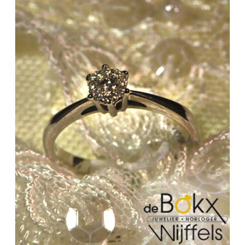Verlovingsring Briljant shape wit gouden ring met diamant maat 53 - 54566