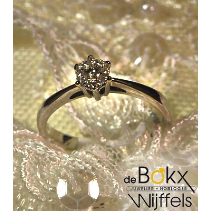 Verlovingsring Briljant shape wit gouden ring met diamant - 54566