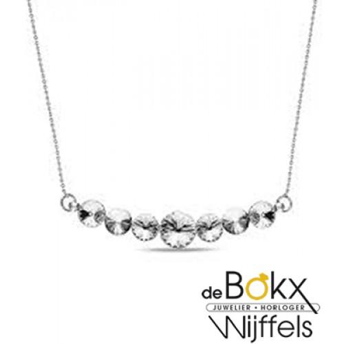 Spark collier zilver Smile met witte swarovski - 57039