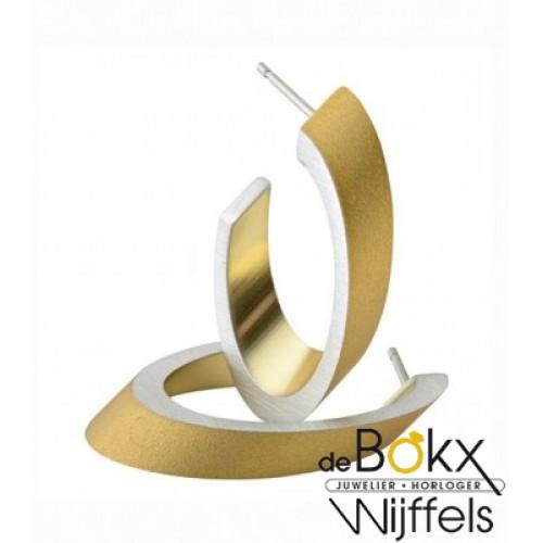 Clic by suzanne oorbellen O21G goud kleur creool ovaal in verstek met steker - 56280