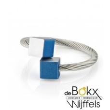 Clic by suzanne ring met mat blauw blokjes voor elke maat - 56266