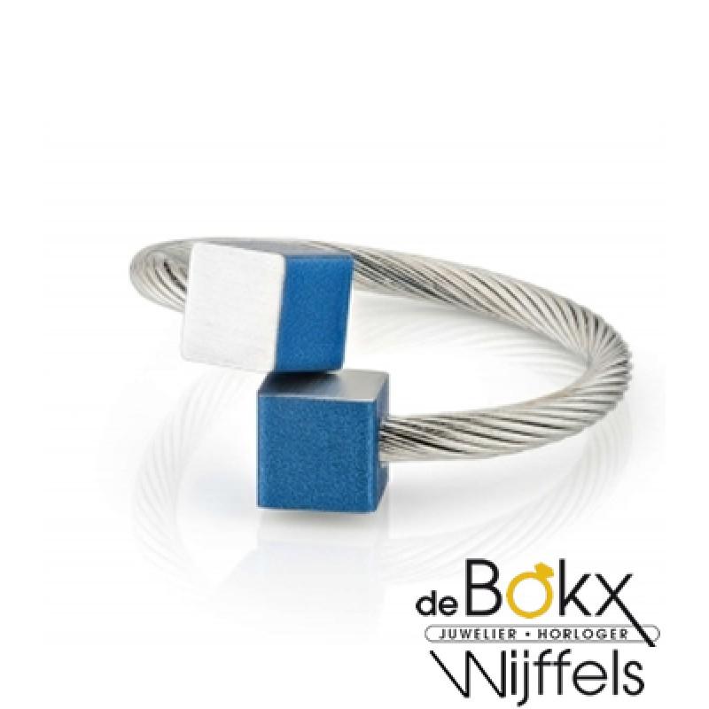Clic by suzanne ring met mat blauw blokjes voor el...