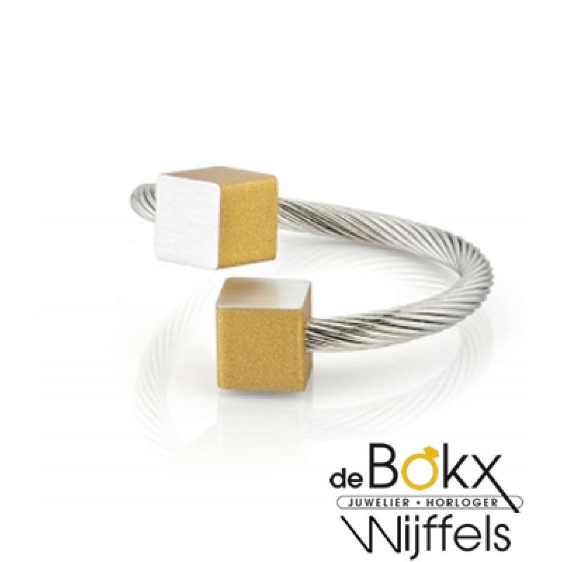 Clic by suzanne ring met een mat geel blokje in al...