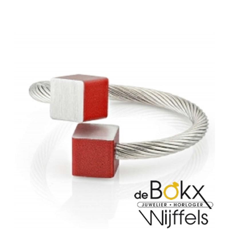 Clic by suzanne ring met mat rode blokjes voor elk...