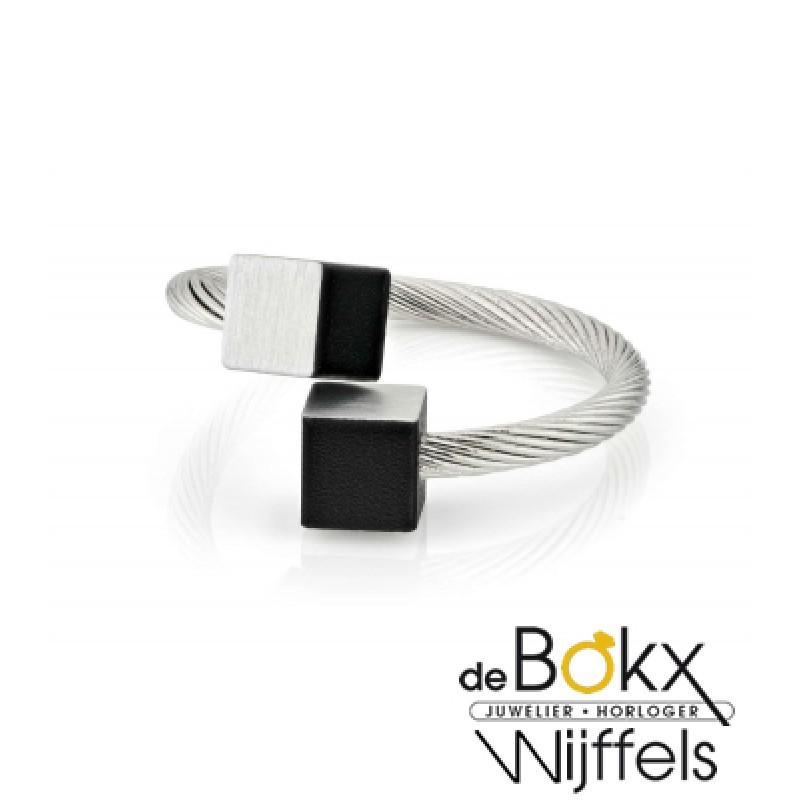 Clic by suzanne ring voor elke vinger met zwart bl...