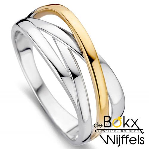 ring zilver met goud maat 52 - 58035