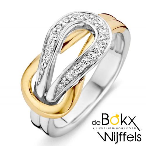 ring zilver met goud en zirkonia maat 54 - 58036