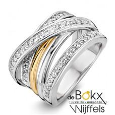 Brede ring van excellent in zilver met geelgoud en zirkonia - 55138