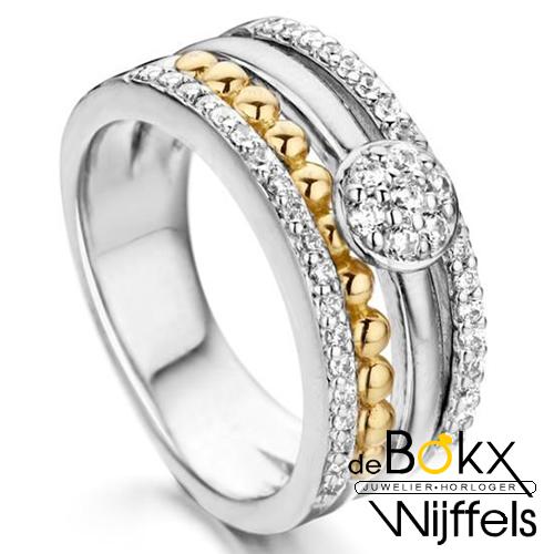 Zilveren ring met goud en zirkonia maat 54 - 55889
