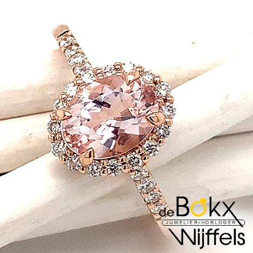 roze gouden ring met diamant en Morganiet maat 54 - 58142