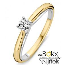 jubileumring geel en wit goud met 0.25crt diamant :Actie - 56149