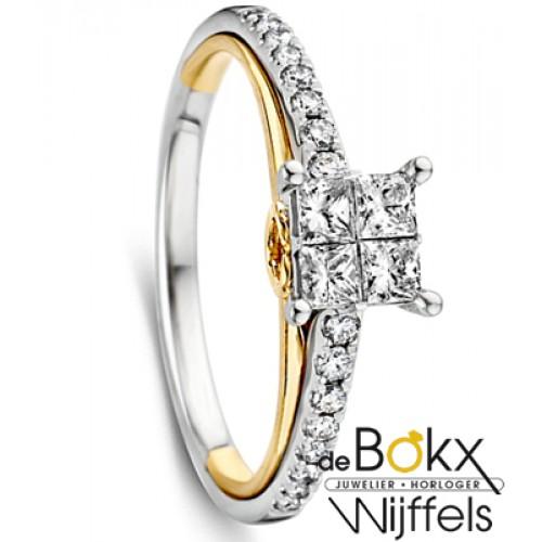 Gouden ring met diamant maat 56 - 56359