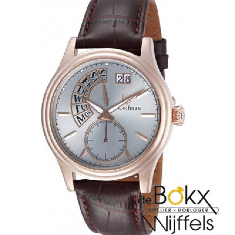 Bruine lederen band met roze S. Coifman heren horloge SC0290 - 55274