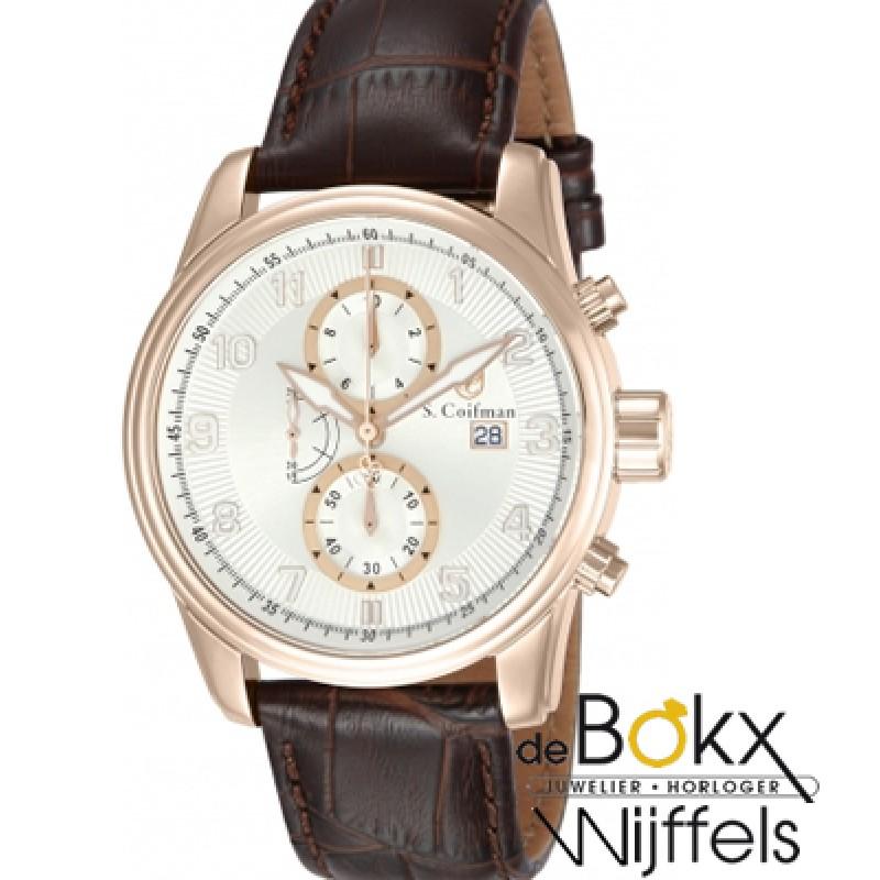 Bruine lederen band met roze S. Coifman heren horloge SC0310 - 55273